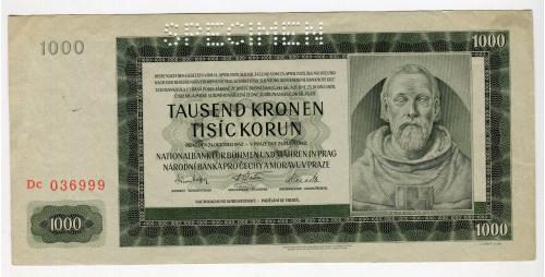 1000 корон Чехії і Моравії 1942 р. Specimen.