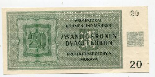 20 корон. Протекторат Чехія і Моравія. 1944 р. SPECIMEN.