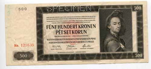 500 корон Чехії і Моравії 1942 р. Specimen.