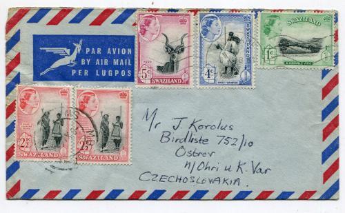 Конверт із листом Чехословаччина-Свазіленд