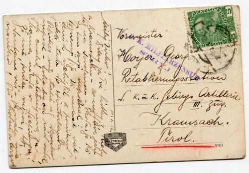 Поштівка Стрий 1916 р. Військовий штамп.