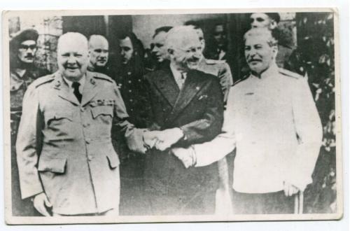 Старе фото Черчіль, Рузвельт, Сталін.
