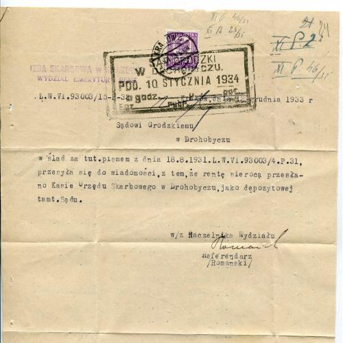 Судовий лист - Дрогобич, Нагуєвичі. 1934 р.