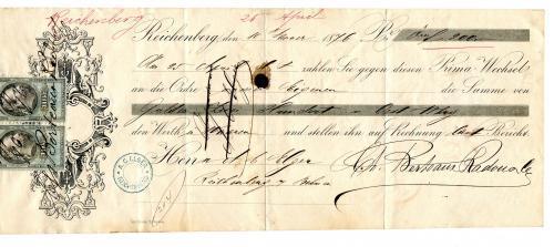 Вексель на 200 гульденів 1876 р. Австро-Угорщина.
