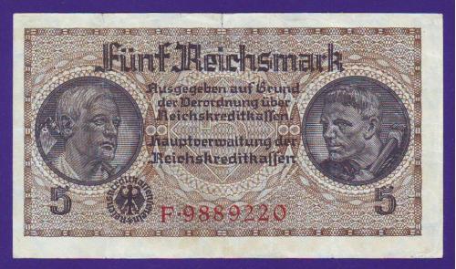 Банкнота 5 рейхсмарок для оккупированных территорий. Германия (Третий рейх). 1940-1945 гг