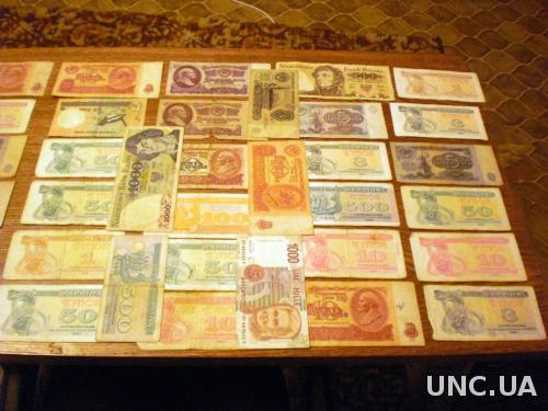 Мини коллекция банкнот (40 шт.разные,разное состояние).