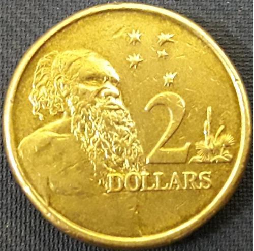 Австралия 2 Доллара 2009 г, Абориген Алюм,бронза, 6.6g, ø 20.5mm