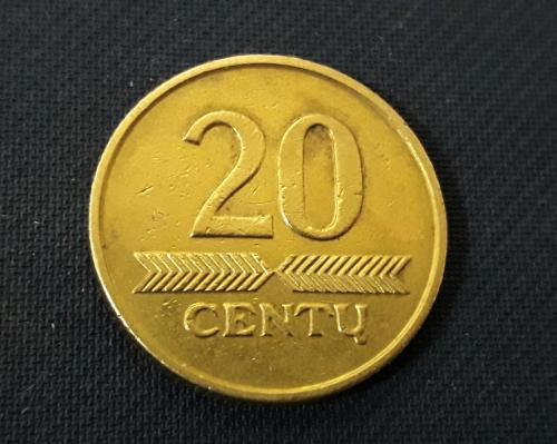 Литва 20 центов 2008 г Латунь, 4.8g, ø 20.5mm Отличный Сохран!!