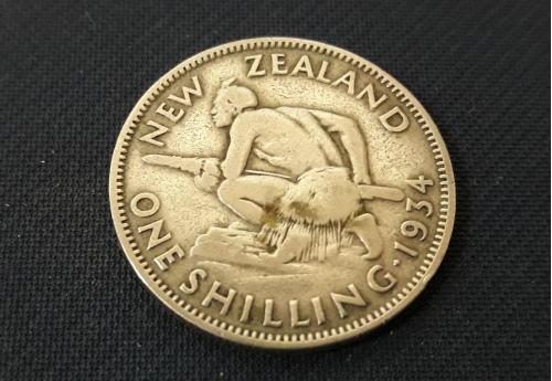 Новая Зеландия 1 шиллинг 1934 г Серебро 0.500, 5.65g, ø 23.62mm Хороший Сохран!!!Король Георг V
