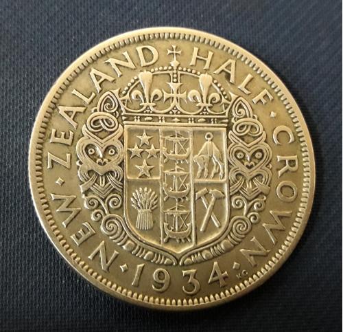 Новая Зеландия ½ КРОНЫ 1934 г,Серебро 0.500, 14.14g, ø 32mm Отличное Состояние!!! Король Георг V
