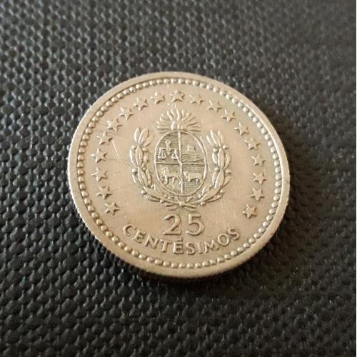 Уругвай 25 СЕНТЕСИМО 1960 г 3g, ø 18mm Отличное Состояние!!!