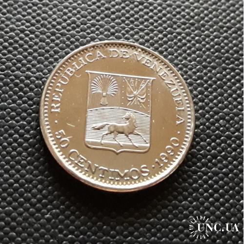 Венесуэла 50 СЕНТИМО 1990 г.  3.5g, ø 20mm Отличный Сохран !!!