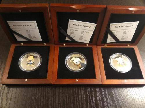 Набор из 3-х монет 500 тугриков 2005 Монголия - Сумо. Серебро. 3 унции