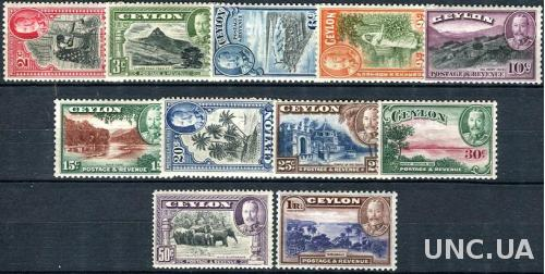 Британские кол. - Цейлон / Ceylon 1935/36 Michel #216/26-F/VF/MNH. KGV. (Ts04)