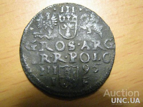 "Серебряная монета ,,3 гроша 1595 года""."