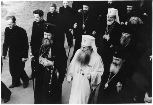 ФОТО. 1958 г. Румынский Патриарх Юстиниан, Болгар. Патриарх Кирилл, Священники, Сергиева Лавра, МДА