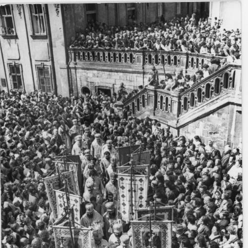 ФОТО. 1981 г. 35-летие возвращения греко-католиков в РПЦ . Львов , Собор Святого Юра