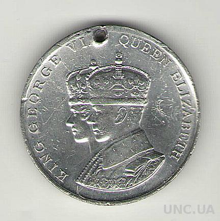 Медаль. Коронация короля Георга VI и королевы Елизаветы. Англия.