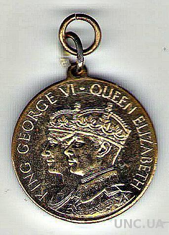 Медаль. Коронация короля Георга VI и королевы Елизаветы. Учреждена кондитерской компанией Rowntree's