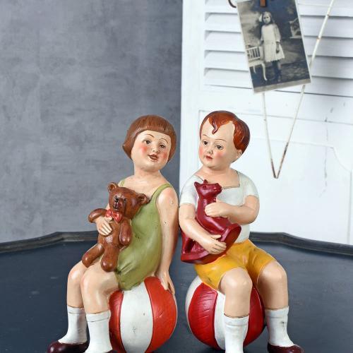 Дизайнерские винтажные фигурки Девочка и мальчик, Germany