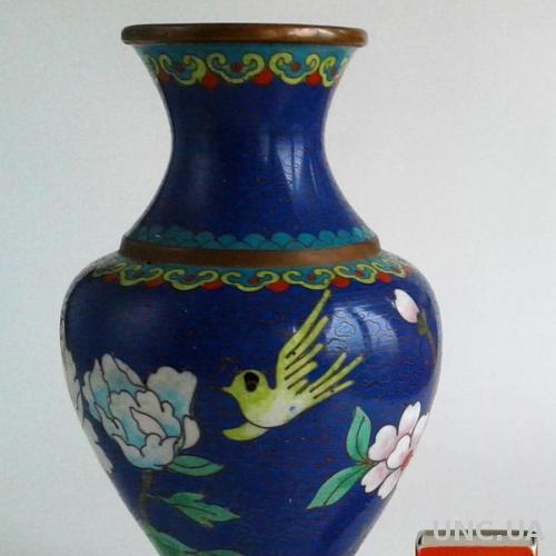 Коллекционная антикварная ваза клуазоне Cloisonne медь XIX век