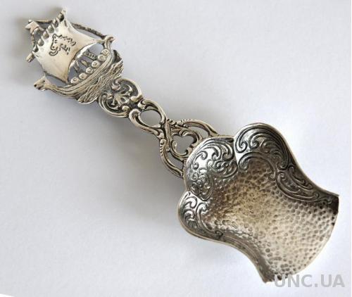 Коллекционная ложка Парусник серебро 835 проба Germany