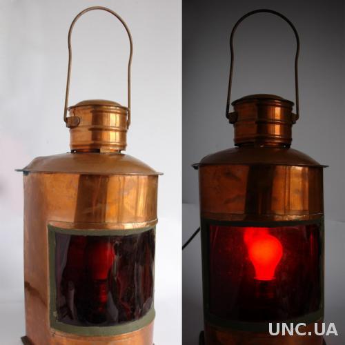 Судовой якорный красный фонарь медь 1920-е Germany