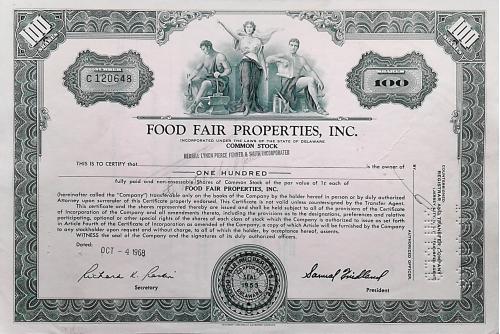 Акция Сертификат на 100 Акций Food Fair Properties Inc. 1974 США Mt 09
