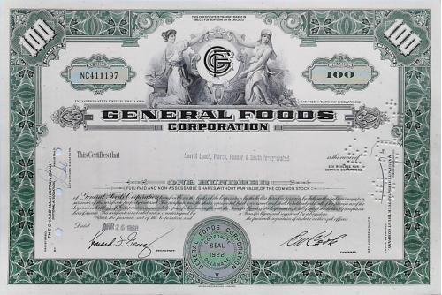 Акция Сертификат на 100 Акций General Foods Corporation 1968 США Mt 16