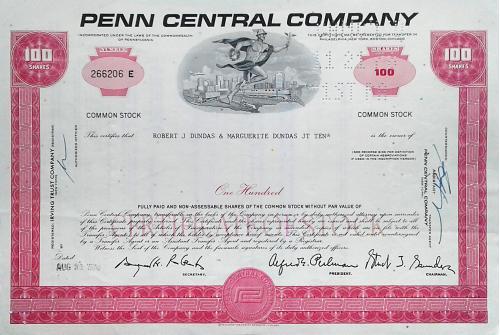 Акция Сертификат на 100 Акций Penn Central Company 1970 США Mt 11