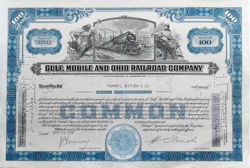 Акция Сертификат на 100 Акций The Gulf, Mobile and Ohio Railroad Company 1974 США Mt 07