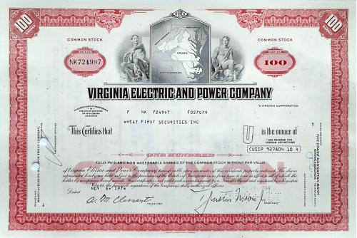 Акция Сертификат на 100 Акций Virginia Electric & Power Company 1974 США Mt 05