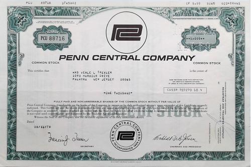 Акция Сертификат на 1000 Акций Penn Central Company 1978 США Mt 13