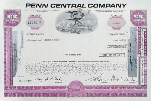 Акция Сертификат на 104 Акции Penn Central Company 1973 США Mt 14