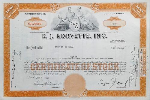 Акция Сертификат на 20 Акций E.J.Korvette, Inc. 1966 США Mt 01