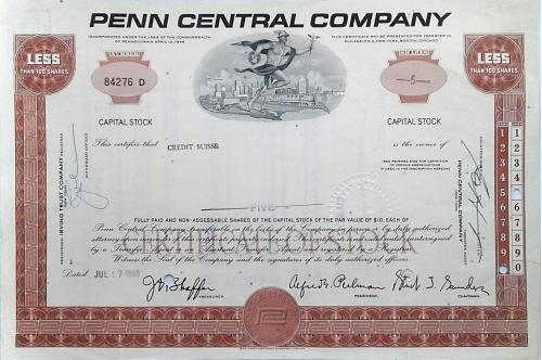Акция Сертификат на 5 Акций Penn Central Company 1969 США Mt 10