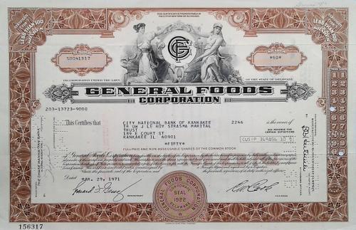 Акция Сертификат на 50 Акций General Foods Corporation 1971 США Mt 15