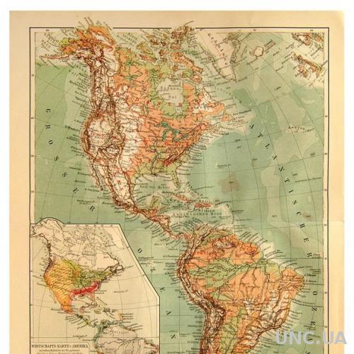 Карта Америка издание 1902-1920 гг. ОРИГИНАЛ