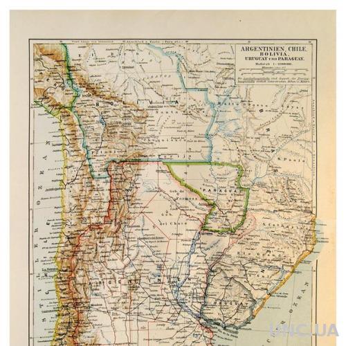 Карта Аргентина Чили Боливия 1893-1901 ОРИГИНАЛ
