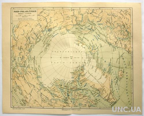 Карта Арктика Nord-Polarlander 1885-90 г ОРИГИНАЛ!