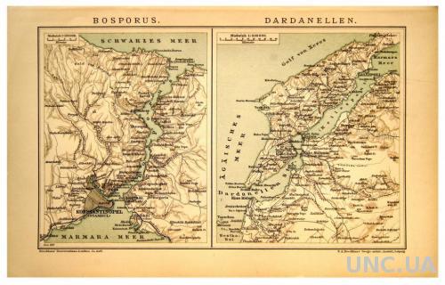 Карта Босфор и Дарданеллы издание 1893-97 ОРИГИНАЛ