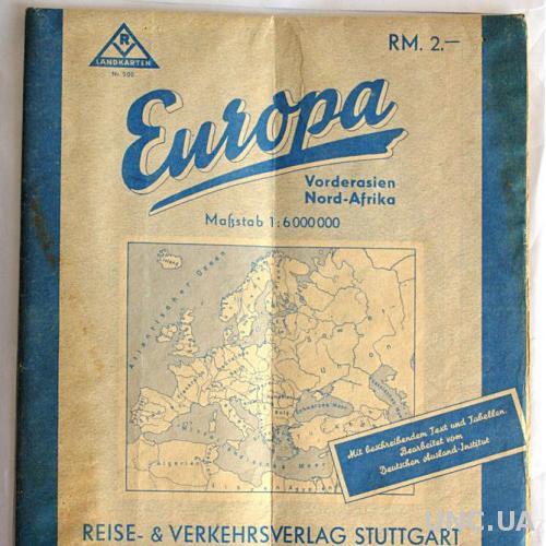Карта Европа 102x85 cm 1943 г Третий Рейх Германия