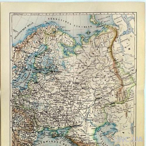 Карта Европейская Россия 1893–97 Германия Оригинал Fv8.8