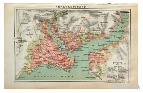 Карта Константинополь Konstantinopel 1892-95 Германия Fv8.8