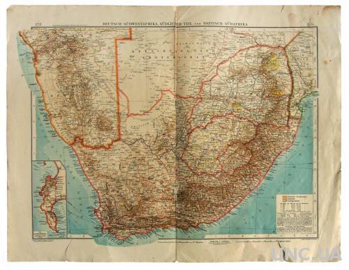 Карта Немецкие и Британские колонии в Южной Африке 1905 г. Fv8.3