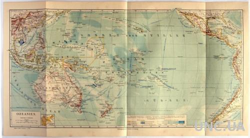 Карта Океания Ozeanien, 1885-90 гг., ОРИГИНАЛ!