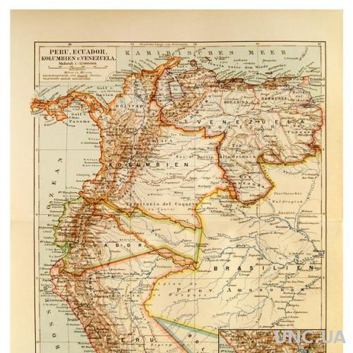 Карта Перу Эквадор Венесуэла 1893-1901 ОРИГИНАЛ