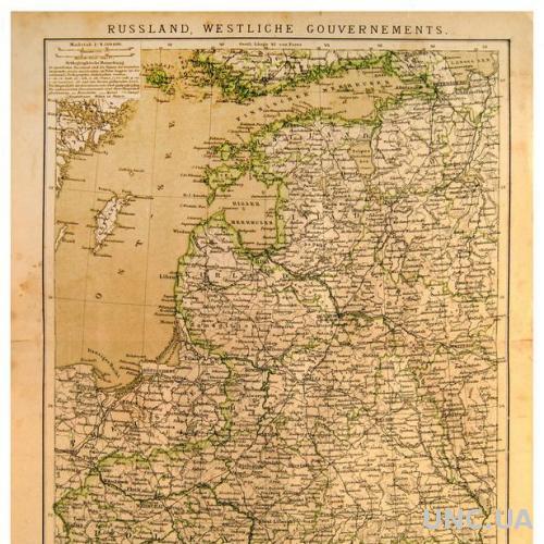 Карта Россия. Западные провинции 1882-87 ОРИГИНАЛ