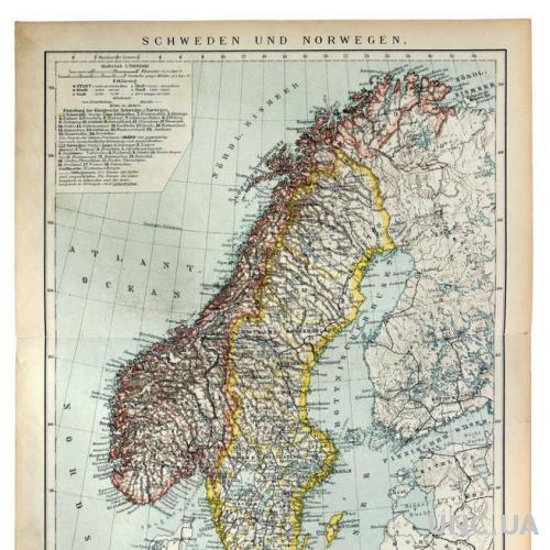 Карта Швеция и Норвегия 1892-95 Германия Fv8.8