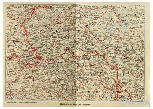 Карта Юго-Восточный театр военных действий Первая мировая 1919 Fv8.3